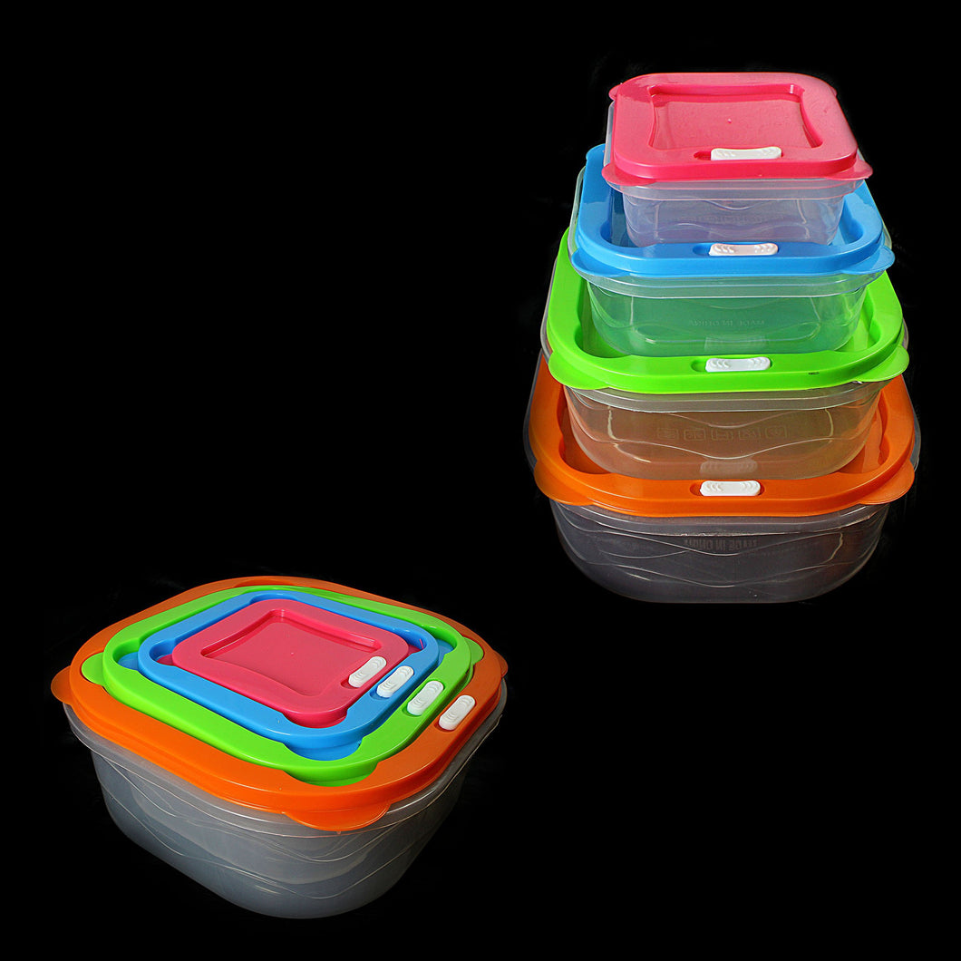Set Of 4 Plastic Containers Assorted Colour Lids Storage 0401 (Parcel Rate)