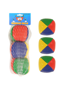 3 Soft Juggling Balls Circus Clown Coloured Learn To Juggle Toy Game T03069 (Parcel Rate)