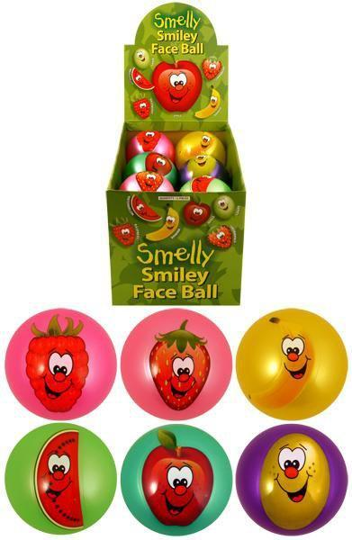 Kids Smelly Fruits Smiley Face Balls Scented Fruity Bounce 6 Assorted Colour 9cm T38525 (Parcel Rate)