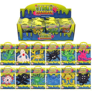 Childrens Sticky Creatures Splatter Toys Party Fun 12 Assorted Designs 9-11cm T51119 (Parcel Rate)