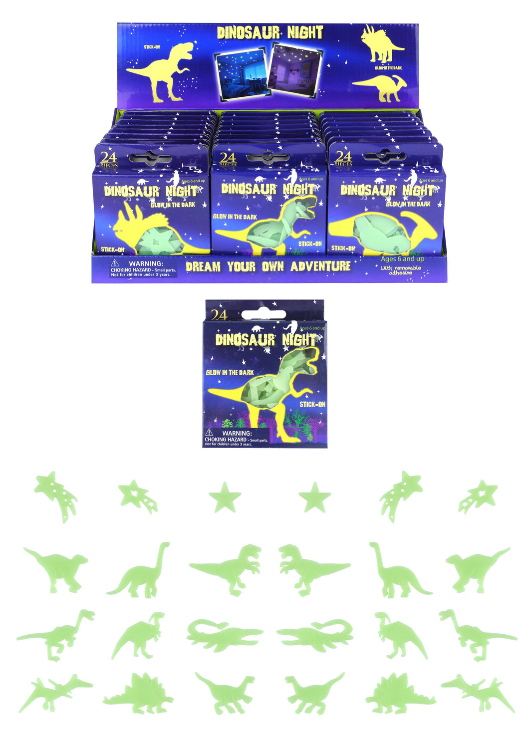 24 Pack Assorted Dinosaur Glow In The Dark Bedroom Stickers 6.5cm T51469 (Large Letter Rate)