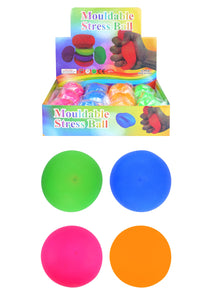 Kids Adults Mouldable Stress Relief Stretchy Squeezy Ball 4 Assorted Colours 7cm T51493 (Parcel Rate)