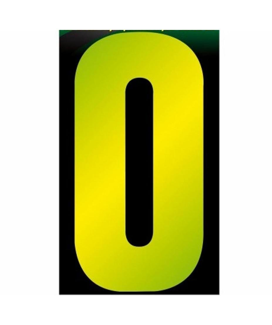 1 x High Visible Wheelie Bin Reflective Number 0 Sticker Home Dustbin Office 16cm TT-0110 (Large Letter Rate)