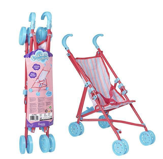 Dream Creations Girls Doll Single Buggy Pram 4 Wheel Pink Pram 8300 (Parcel Rate)