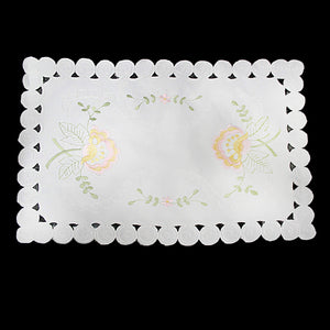 Floral Embroidery White Table Cloth 38cm x 85cm Home 2850 (Parcel Rate)