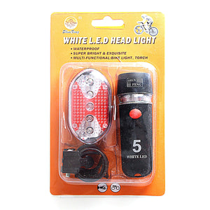 White LED Head Light & Torch 4 Pack Bicycle Light Set Safety Light 0527 (Large Letter Rate)