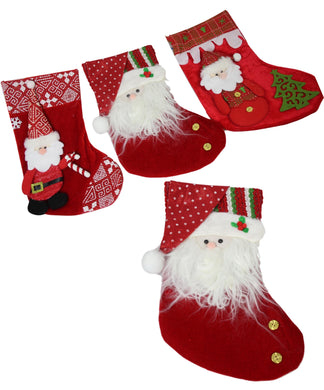 Christmas Assorted Santa Style 3 Assorted Santa Stocking Traditional Red 33cm 5441 (Parcel Rate)
