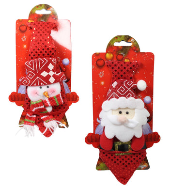 Christmas Festive Snowman And Santa Attach On Tie With Ribbon 25cm 5442 (Parcel Rate)