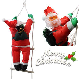 Christmas Santa Claus Climbing On Rope Ladder Figure Xmas Holiday Decor 90cm 5297 (Parcel Rate)
