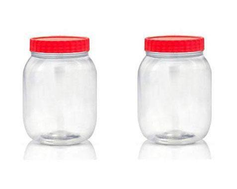 Kitchen Household Storage Plastic Clear Food Jar Red Lid 750ml 2 Pack ST5131 (Parcel Rate)