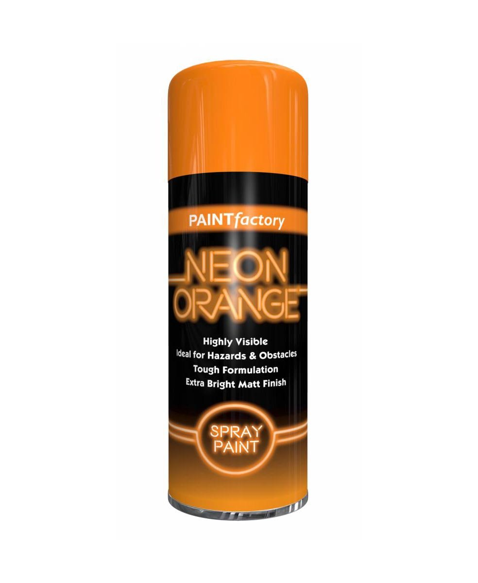 Paint Factory Neon Orange Spray Paint Highly Visible Bright and Matt Finish 200ml 5388 (Parcel Rate)
