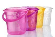 Household Plastic Clear Floral Print Storage Multipurpose Bucket 10 Litre ASD-103 (Parcel Rate)