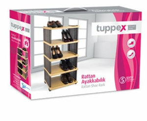 Tuppex Rattan Style 5 Storage Shoe Trainers Rack Build Up Rattan Shoe Rack TP-7011 (Parcel Rate)