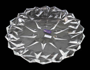 Crystal Cut Serving Glass Aesthetic Durable Party Wedding Serving Gift Glass Tray 33cm DL006 (Parcel Rate)