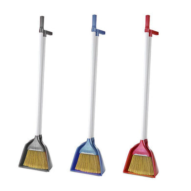 Dustpan And Brush Set Indoor Cleaning Long Broom Dustpan Assorted Colour ZP129 (Big Parcel)