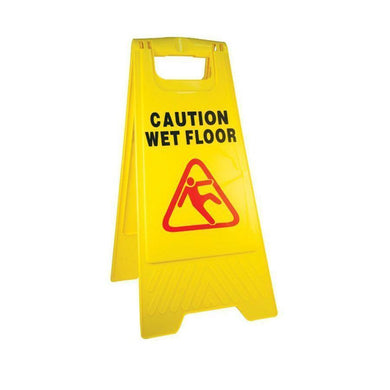 'Caution Wet Floor' Plastic Yellow Safety Sign 60cm 5142 (Parcel Rate)