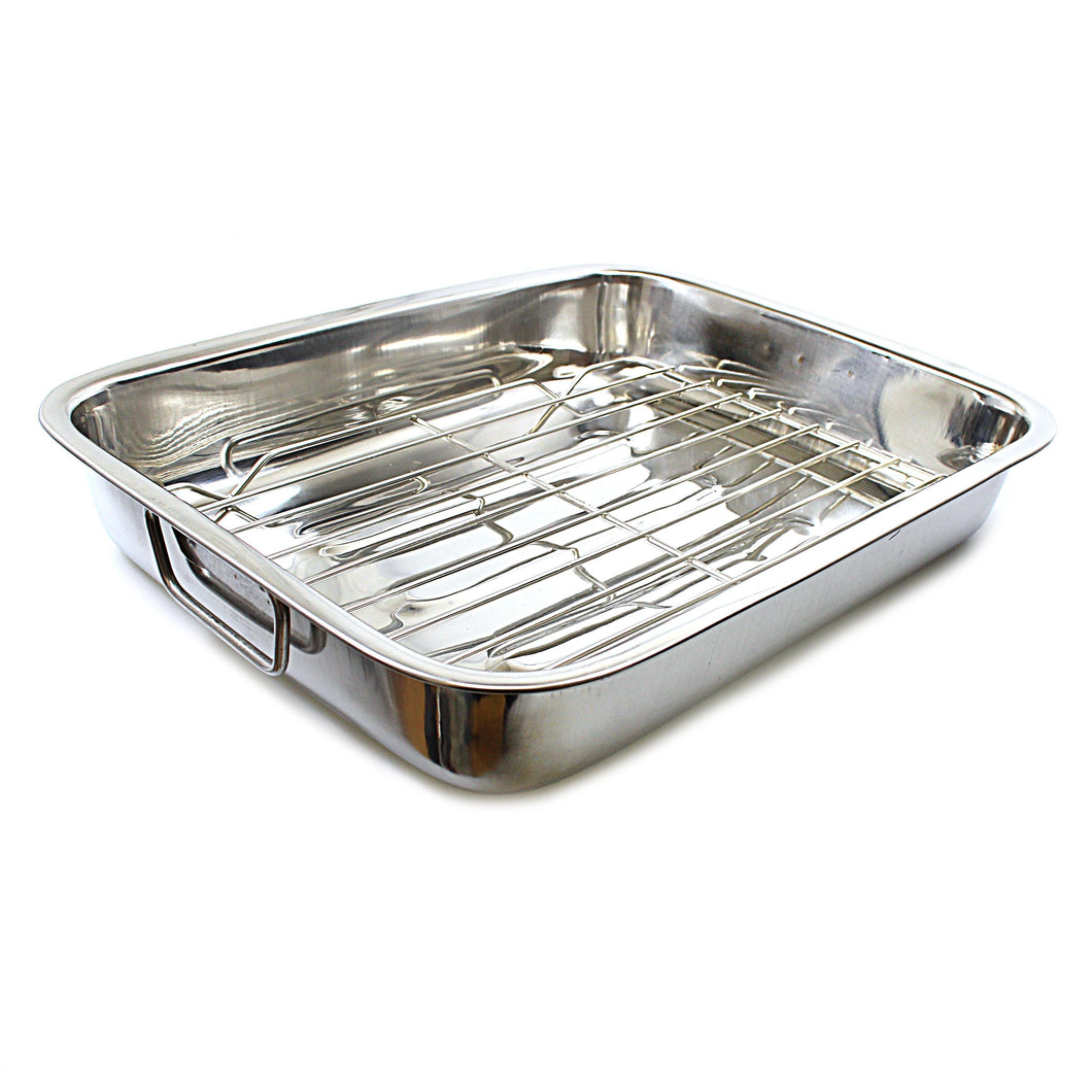 Stainless Steel Roasting Dish Tray Lasagne Cooking Rectangle Dish With Handles 35cm ST3238 (Parcel Rate)