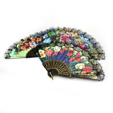 Load image into Gallery viewer, Chinese Folding Black Frame Peony Pattern Nylon Handheld Mini Folding Hand Fan 37cm 0914 (Parcel Rate)