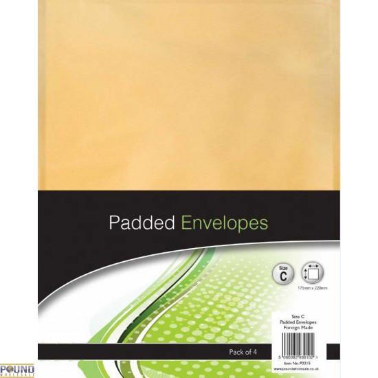 4 Pack Size C Padded Envelopes Home Office Supplies Envelopes 150mm x 210mm P2215 (Parcel Rate)
