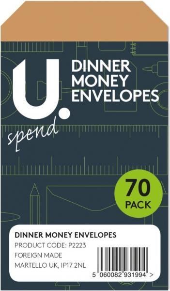 70 Pack Childrens Dinner Money Secure Envelopes With Seal 13cm x 7cm x 3cm P2223 (Large Letter Rate)