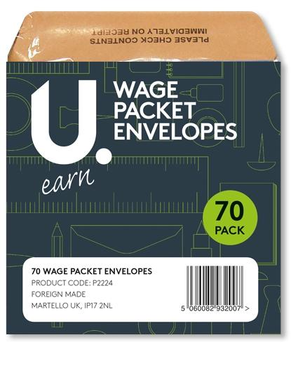 Wage Packet Salary Cash Envelopes Brown Envelopes 10cm x 10cm 70 Pack P2224 (Large Letter Rate)