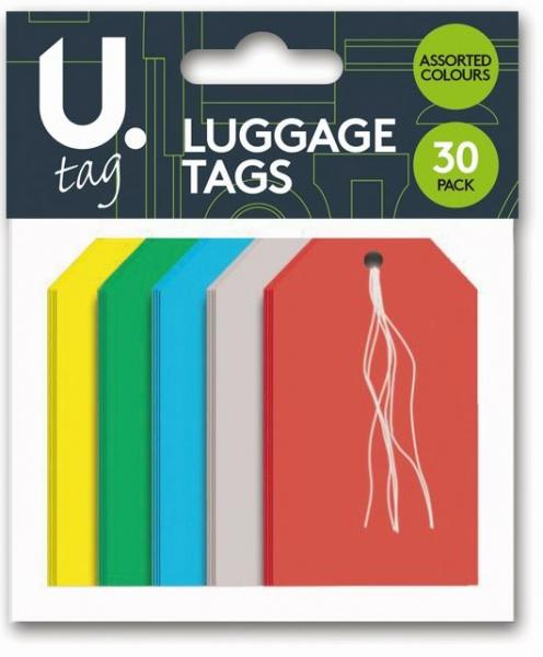 Luggage Tags Paper Assorted Colour Holiday Suitcase Paper Luggage Tags 30pk P2262 (Parcel Rate)