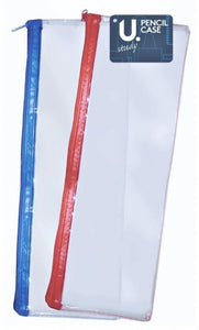 13'' Students Adults Clear Exam Pencil Case Assorted Red and Blue Zip P2339 (Large Letter Rate)