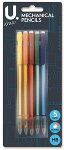 Mechanical Pencils 5 Assorted Colours HB Pencils Yellow Orange Red Green Blue P2385 (Large Letter Rate)