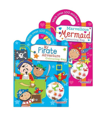 Boys Girls Home Fun Colouring Activity Bags Pirate Mermaid Designs P2596 (Large Letter Rate)