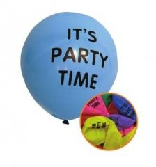 12 Pack High Quality 'It's Party Time' Party Balloons Assorted Colours P2742 (Large Letter Rate)