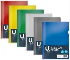 L Shape Folder Assorted Colour Home School Office Plastic A4 Folder P2747 (Large Letter Rate)