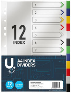 A4 Index Dividers Multicoloured Home Office School Paper Dividers 12 Pack P2775 (Large Letter Rate)