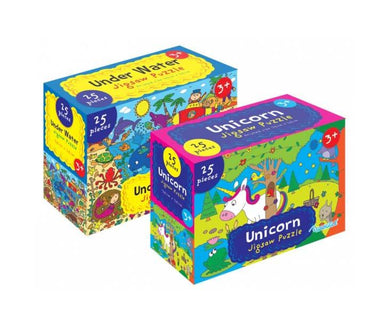Childrens Fun Playing Unicorn and Underwater Jigsaw Puzzle 25 Pieces in 1 Random Box Sent P2835 (Parcel Rate)