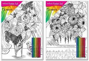 Velvet Poster Art Childrens Fun Colouring Art Flowers 1 Pack 6 Colours 25cm x 38cm P3023 (Parcel Rate)