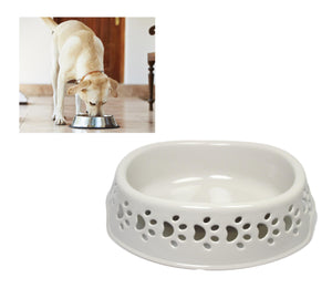 Plastic Grey Pets Cats Dogs Eating Bowl With Paws Design Indoor Outdoor 22 CM LL5130 (Parcel Rate)