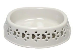 Plastic Grey Pets Cats Dogs Eating Bowl With Paws Design Indoor Outdoor 23cm 2343 (Parcel Rate)