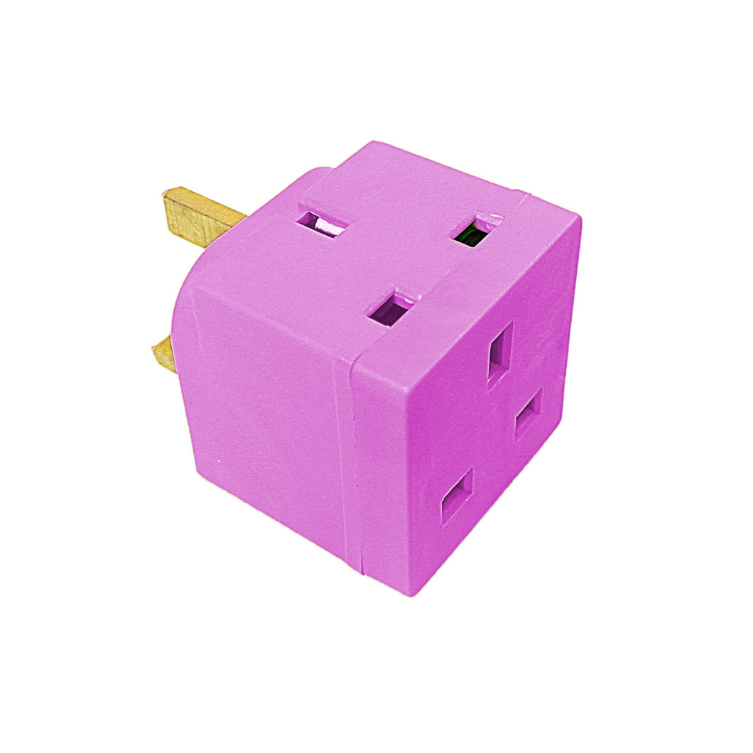 Status 2 Way Non Fused Adaptor African Violet In Colour CDU Home Diy 8100 (Parcel Rate)