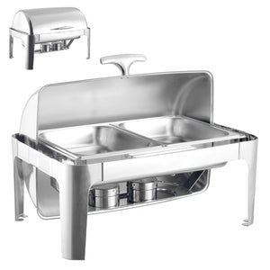 BANQUET CHAFING DISH WITH ROLLING ROP DOUBLE COMPARTMENT 723B/63X44CM/2X4LTR 7525 (PARCEL RATE)