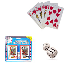 Load image into Gallery viewer, 2 Pack Vegas Style Plastic Playing Cards With 5 Dice 1734 (Parcel Rate)