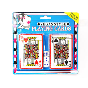 2 Pack Vegas Style Plastic Playing Cards With 5 Dice 1734 (Parcel Rate)
