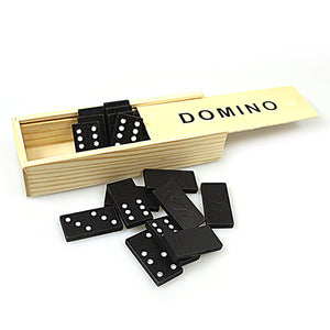 Family Fun Games 28 Set Black Dominoes In Wooden Box  0201 (Parcel Rate)