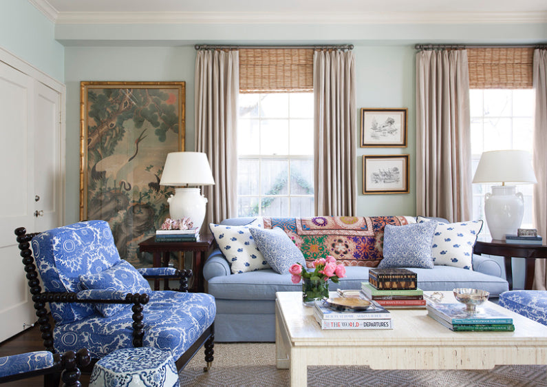 A wonderful look by Mark Sikes, great design using a suzani over sofa back. See what a wonderful addition it can be to your interior space! Love!