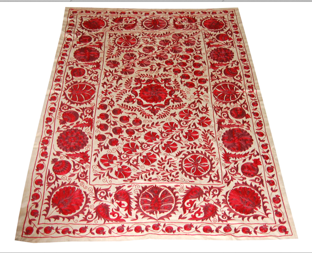 Gorgeous Uzbek silk on cotton suzani