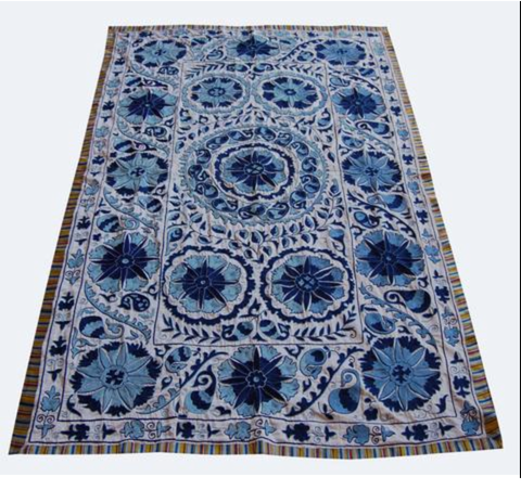 SOLD Uzbek Samarkand suzani in blue and white 56 x 90 inches