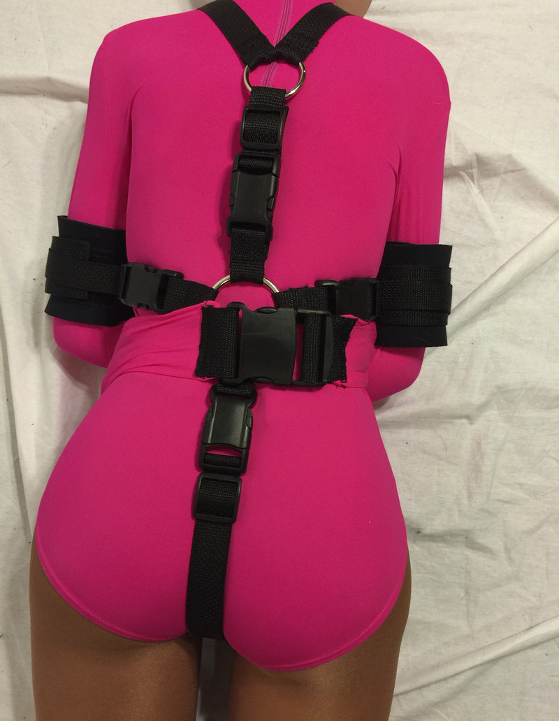 Straitjacket Leotard with Neoprene Padded Restraints (Nylon/Spandex) - Bondage Webbing