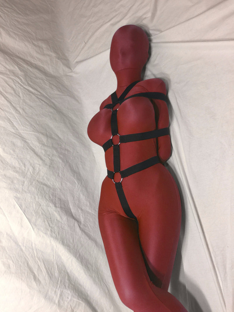 Self-Bondage Box-Tie Bondage Harness with Crotch Strap (Poly Webbing) - Bondage Webbing