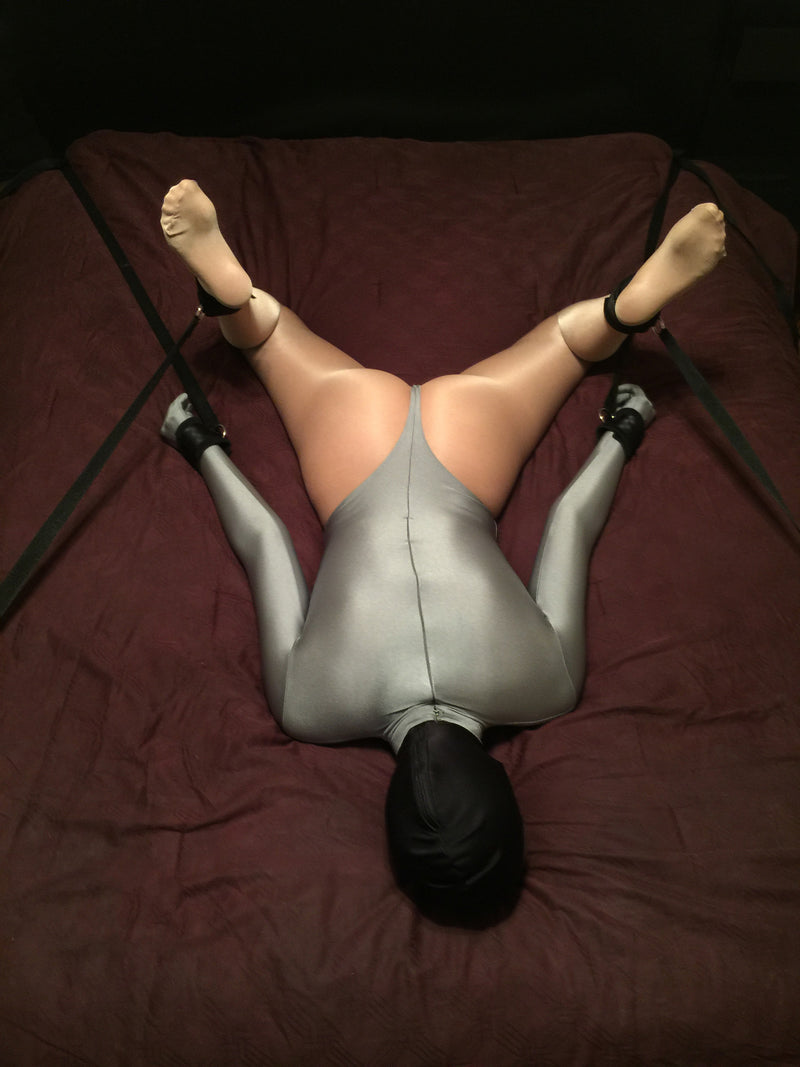 Self Bondage Bed Hogtie (Neoprene and Webbing Cuffs, 4-point) - Bondage Webbing