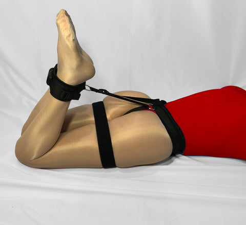 Self Bondage Leg Harness (Ankles to Ass, Male Crotch Friendly, Poly Webbing)