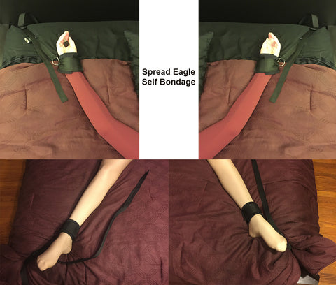 Self Bondage Spread Eagle Cuffs (Neoprene and Webbing Cuffs, 4-point) - Bondage Webbing