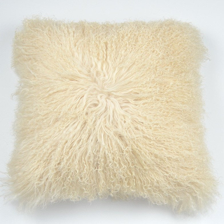"Tibetan/Mongolian Lamb  Fur Pillow Cover - Light Beige (18"")"